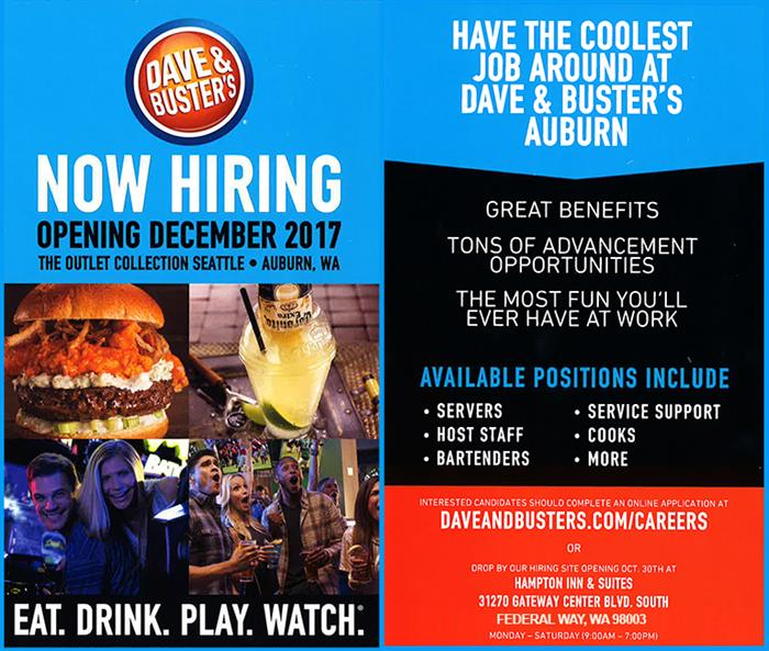Dave and Busters hiring event flier