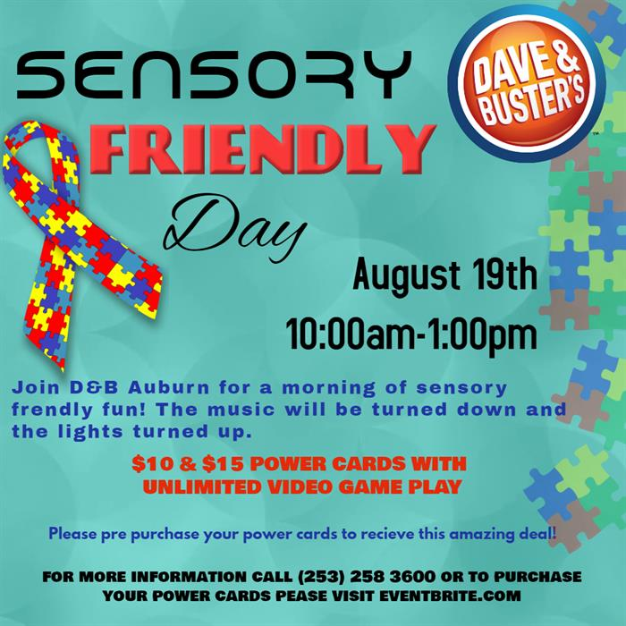 Dave & Busters Sensory Friendly Poster