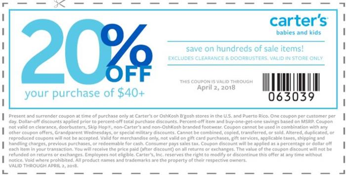 Carters discount coupon